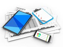3d phone. 3d illustration of business charts and tablet computer over white background with clipboard Stock Photos