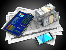 3d business charts. 3d illustration of business charts and tablet over black background with money Royalty Free Stock Photos