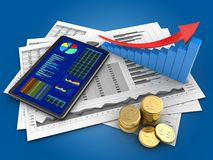 3d coins. 3d illustration of business charts and tablet over blue background with arrow graph Stock Image
