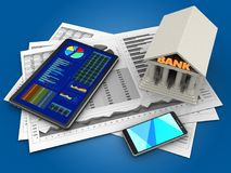3d business charts. 3d illustration of business charts and tablet over blue background with bank Royalty Free Stock Images