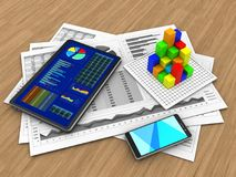3d smartphone. 3d illustration of business charts and tablet over wood background with graph Stock Photos