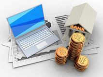 3d golden coins. 3d illustration of business charts and white laptop over white background with bank Royalty Free Stock Photos