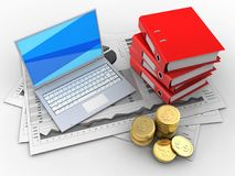 3d coins. 3d illustration of business charts and white laptop over white background with binder folders Stock Image