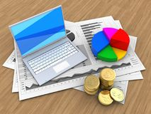 3d white laptop. 3d illustration of business charts and white laptop over wood background with pie chart Stock Image