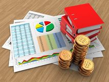 3d golden coins. 3d illustration of business documents and binder folders over wood background Stock Images