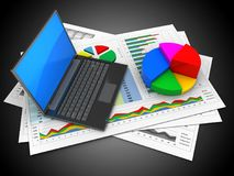 3d business documents. 3d illustration of business documents and black laptop over black background with pie chart Stock Photo