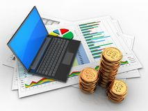 3d golden coins. 3d illustration of business documents and black laptop over white background Stock Photo