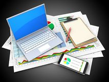 3d computer. 3d illustration of business documents and computer over black background with note royalty free illustration