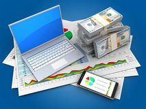 3d computer. 3d illustration of business documents and computer over blue background with money vector illustration