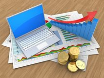 3d coins. 3d illustration of business documents and computer over wood background with arrow graph Stock Photos
