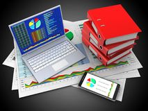 3d pc. 3d illustration of business documents and pc over black background with binder folders Stock Photography