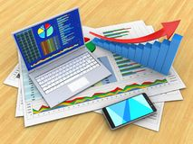 3d pc. 3d illustration of business documents and pc over wood table background with arrow graph Royalty Free Stock Image