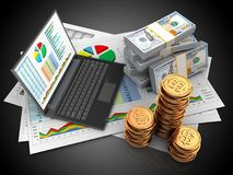 3d money. 3d illustration of business documents and personal computer over black background with money Stock Images