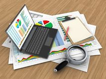 3d business documents. 3d illustration of business documents and personal computer over wood background with note Stock Image