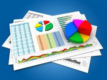 3d pie chart. 3d illustration of business documents and pie chart over blue background Stock Photo