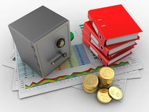 3d coins. 3d illustration of business documents and safe over white background with binder folders Stock Photos