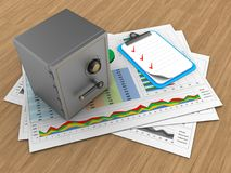 3d blank. 3d illustration of business documents and safe over wood background with clipboard Royalty Free Stock Photo