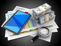 3d tablet computer. 3d illustration of business documents and tablet computer over black background with money Royalty Free Stock Image
