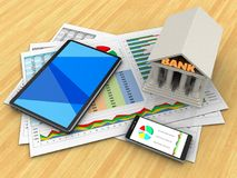 3d phone. 3d illustration of business documents and tablet computer over wood table background with bank Stock Images