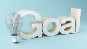 3d Business goal text with lightbulb. 3d illustration. Business goal text with lightbulb. Success concept Stock Images