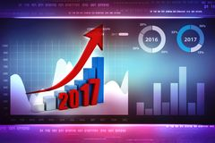 3d illustration of Business graph with arrow up and 2017. Business graph with arrow up and 2017 symbol, represents growth in the new year 2017, three-dimensional Royalty Free Stock Photos