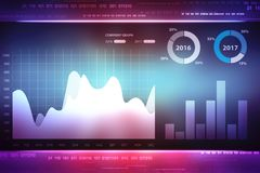 2d illustration of Business graph and Stock market online business concept. 2d rendering Stock market online business concept. business Graph background Royalty Free Stock Image