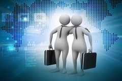 Business partners with business bag. 3d illustration of Business partners with business bag Stock Image