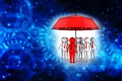Business insurance Concept. 3d rendering. 3d illustration of business people under an umbrella, Business insurance Concept Royalty Free Stock Images