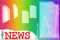 3d illustration of business person and news text Illustration Stock Photo