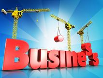 3d business over light rays. 3d illustration of business sign with cranes over light rays background Stock Image