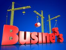 3d business over blue. 3d illustration of business sign with three cranes over blue background Stock Photo
