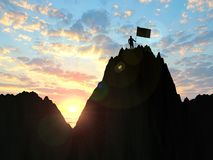 3d illustration business, success, leadership, achievement and p. Eople concept - silhouette of businessman with flag on mountain top over sky and sun light Stock Photography