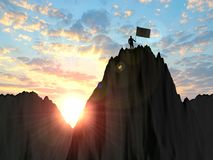 3d illustration business, success, leadership, achievement and p. Eople concept - silhouette of businessman with flag on mountain top over sky and sun light Royalty Free Stock Photography