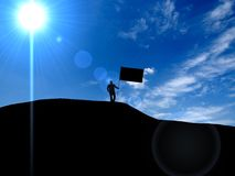 3d illustration business, success, leadership, achievement and p. Eople concept - silhouette of businessman with flag on mountain top over sky and sun light Stock Photo