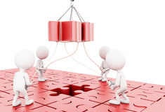 3d illustration. Business team building a puzzle jigsaw Stock Images