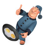3d illustration the businessman with a frying pan Royalty Free Stock Photos