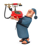 3d illustration of the businessman with phone Stock Photography
