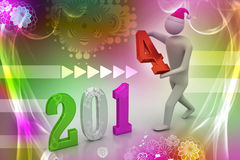 3d illustration of businessman presenting new year 2014 Royalty Free Stock Photography