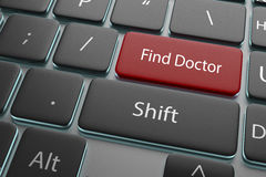 3d illustration a button find doctor on keyboard Royalty Free Stock Photography