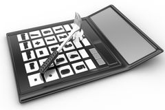 3d illustration of a calculator with  a hammer Stock Photography