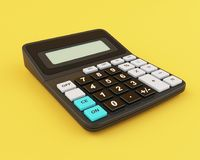3d Calculator. 3d illustration. Calculator on yellow background. Business concept Royalty Free Stock Images
