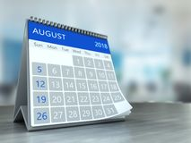 3d calendar on table. 3d illustration of calendar over office background, august 2018 page Stock Image