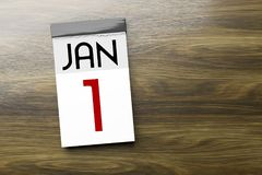 Calendar the 1st of January New Year's Day. 3d illustration of a calendar the 1st of January New Year's Day stock illustration