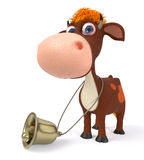 3d illustration a calf with a bell Stock Images