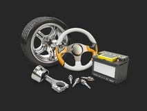 3d Illustration of car steering wheel, piston, battery and wheel , isolated black.  Royalty Free Stock Image
