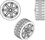 3d illustration car wheel Stock Image
