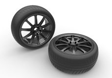 3d illustration of car wheels. On white background Royalty Free Stock Image