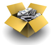 Money in cardboard box Royalty Free Stock Images