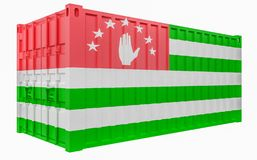 3D Illustration of Cargo Container with Abkhazia Flag. 3D Render of Cargo Container with Abkhazia Flag vector illustration