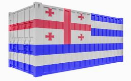 3D Illustration of Cargo Container with Adjara Flag. 3D Render of Cargo Container with Adjara Flag stock illustration